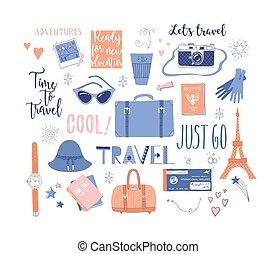 adventure., vacanza, set, tema, viaggiare