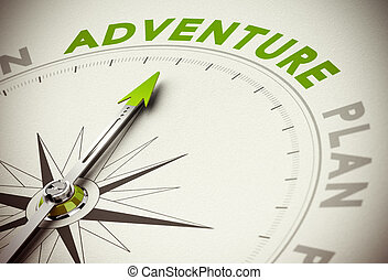 Adventure vs Plan - Compass with needle poiting the word...