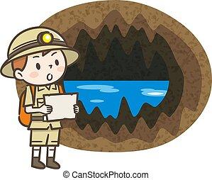Adventurer boy heading for a cave
