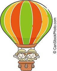 Adventurer children in a balloon