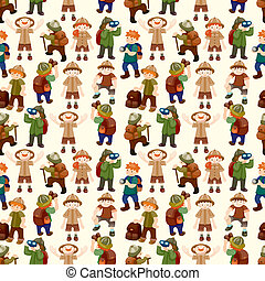 Adventurer people seamless pattern