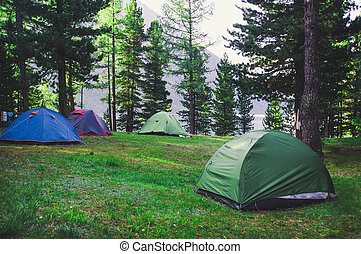 Adventures Camping and tent under