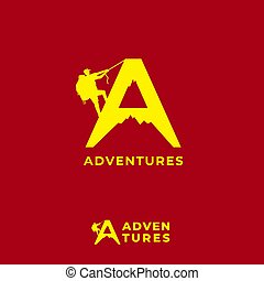 Adventures logo design template isolated on red maroon background. Letter A alphabet, Silhouette of mountain and people climbing logo concept. Suitable for tour guide company, fashion product or others related to outdoor sports