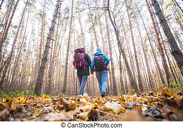 Adventures, tourism and nature concept - Low-angle shot of walking hike couple in a distance, back view