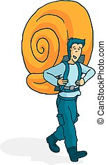 Adventurous man carrying a huge snail shell as backpack -...
