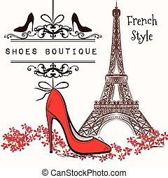 Adverising  illustration shoes boutique red shoe hang on a banner, Eiffel tower on a second plan French style
