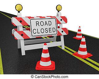 advertencia, calle cerró el signo