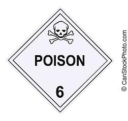 advertencia, cartel, veneno