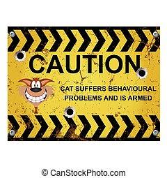 advertencia, comportado, gato, mal, señal