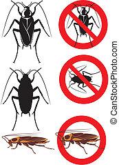 advertencia, -, cucaracha, señales