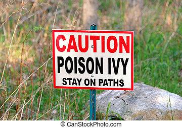 advertencia, hiedra, veneno, señal