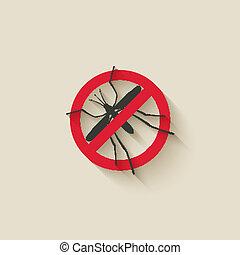 advertencia, mosquito, señal