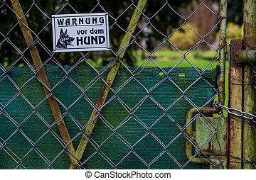 advertencia, perro, señal