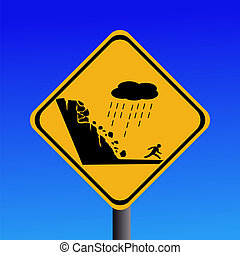 advertencia, riesgo, de, derrumbamiento