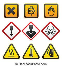 advertencia, símbolos, -, peligro, señales