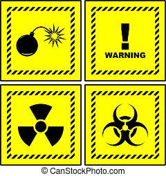 advertencia, signs.