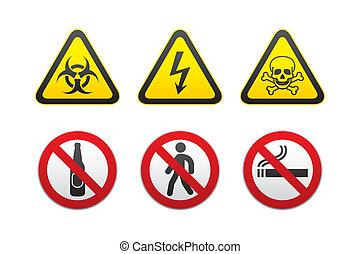 advertencia, y, prohibido, señales