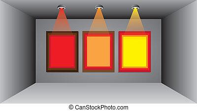 advertentie, kleurrijke, drie, leeg, buitenreclame, empty room