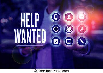 advertentie, werkgever, plaatsen, handschrift, helpen, wanted., vinden, betekenis, schrijvende , papier, nieuw, employee., tekst, concept