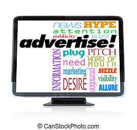 adverteren, marketing, televisie, hdtv, woorden