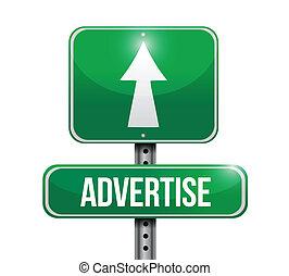adverteren, ontwerp, straat, illustratie, meldingsbord