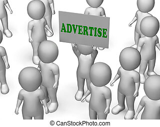 Advertise Board Character Meaning Marketing Strategy Or Business Advertising