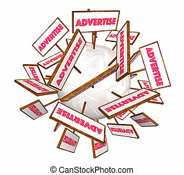 Advertise Signs Banners Marketing Business Sphere 3d Illustration