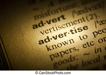 Advertise - Word Advertise in a dictionary