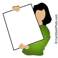 Advertisement - A stylized person holding a blank sign. All...
