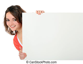 Attractive young woman standing behind white board. All on white background.