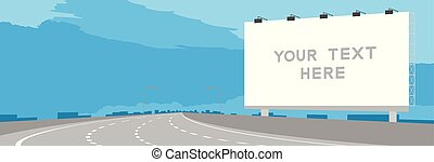 Advertisement Big Billboard Signage Highway or motorway bend in daytime illustration isolated on blue sky background, with copy space