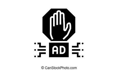 advertisement block technology animated glyph icon. advertisement block technology sign. isolated on white background