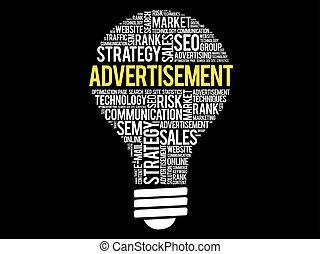 ADVERTISEMENT bulb word cloud