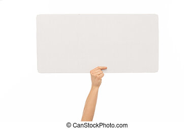 hand holding blank white board