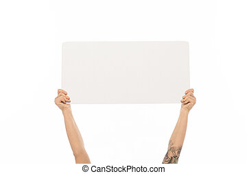 hands holding blank white board