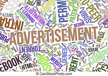 Advertisement, conceptual word cloud for business, information technology or IT.