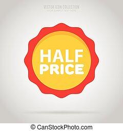 Advertisement half price sticker, vector isoalted