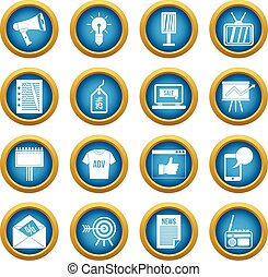 Advertisement icons blue circle set