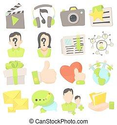 Advertisement icons set, cartoon style