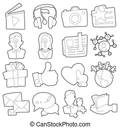 Advertisement icons set, outline cartoon style