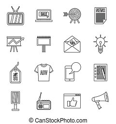 Advertisement icons set, outline style