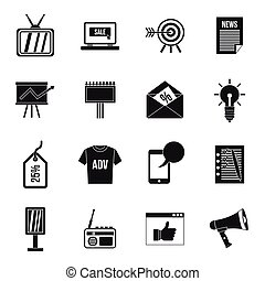 Advertisement icons set, simple style