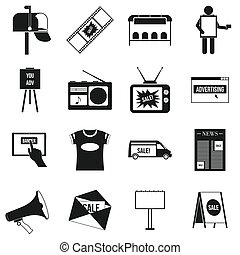 Advertisement icons set,simple style
