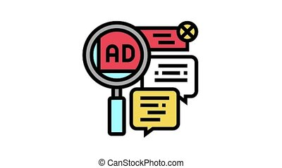 advertisement in comments animated color icon. advertisement in comments sign. isolated on white background