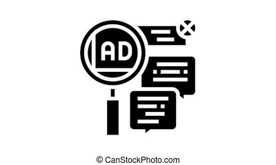 advertisement in comments animated glyph icon. advertisement in comments sign. isolated on white background