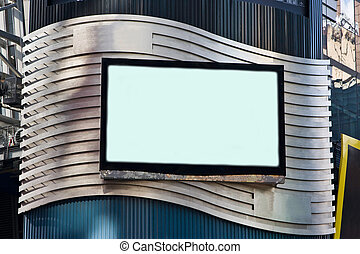 A LCD TV on a building for advertisement; used as a billboard; frame with black border; on a silver colored waved background.