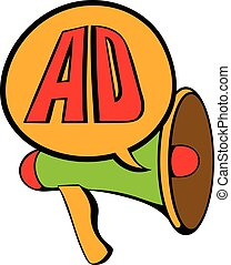 Advertisement megaphone icon cartoon