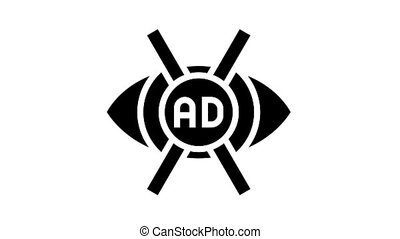 advertisement no vision animated glyph icon. advertisement no vision sign. isolated on white background