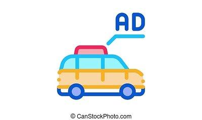 advertisement on car animated icon on white background