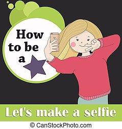 Advertisement picture girl doing selfie